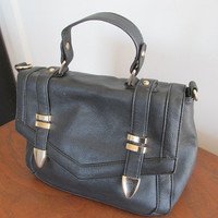 Leather look handbag purse black brass trim pvc faux leather Sportsgirl brand vintage.