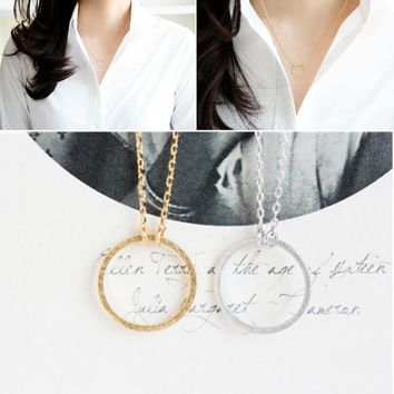 """Melissa"" Hammered Metal Circle Pendant Eternity Necklace"