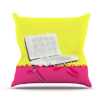 "Oriana Cordero ""Barcelona Chair"" Pink Yellow Outdoor Throw Pillow"