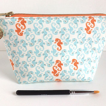 Small Makeup Bag, Seahorse Makeup Bag, Beach Style Pouch, Small Zipper Pouch