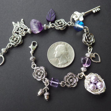 The Secret Garden Bracelet- Amethyst- Glass and Pearl Beads- Butterfly- Egg Nest- Flowers- Key- Costume Fantasy Jewelry- Unique Gift for Her