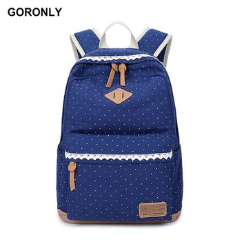 GORONLY Brand Canvas Dot Printing Lace Backpack Women High Quality School Bag Fashion Laptop Backpack Casual Rucksack Travel Bag