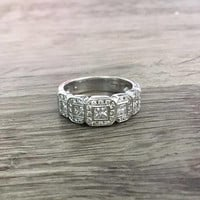 Vintage Art Deco Style Diamond Ring in 14k White Gold, Princess Cut Diamonds G SI1, 1 Carat total, Size US 6.5  (ring sizing available)
