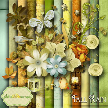 Fall Rain - Digital Scrapbook Kit - Printable Autumn Fall themed Backgrounds - 12x12 inch Papers - FREE Quickpage Layout - Incl ALPHA