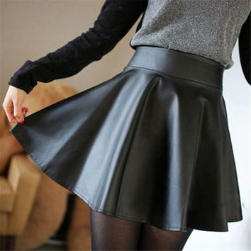 Women Black Hot Faux Leather Skater Skirt