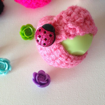 Pink EOS Lip Balm Cozy/Holder with Lady Bug Button Closure, Split Ring, and Lobster Clasp for Clip-On