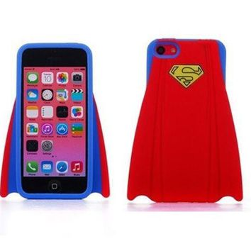 PEAPIX3 Super Hero Stylish Superman's capes design Soft Silicone Back Case Cover Protective Skin for iphone 5 5S - Red