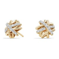 David Yurman 1mm Crossover 18K Yellow Gold Earrings with Diamonds