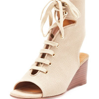 Chloe Lace-Up Canvas Gladiator Wedge Sandal, Tan