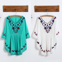 folk style embroidery  blouse