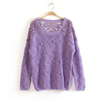Lace Hollow Out Sweater Winter Hot Sale Jacket [8216432065]