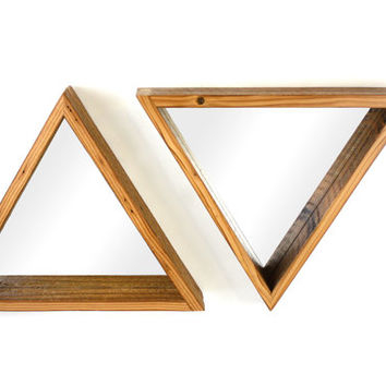 Reclaimed Wood Mirror // Triangle Wall Decor // Rustic Home Decor //  Decorative Accessories // FREE SHIPPING
