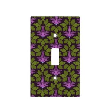 Art Nouveau Art Deco Purple Floral on Black Design Light Switch Plates