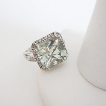 Estate 14k Cushion Cut Green Topaz Diamond 14 karat White Gold Engagement Ring Diamonds Something Old Wedding Bridal Jewelry