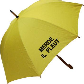 Raindrops|Umbrellas:Merde Il Pleut Yellow Umbrella