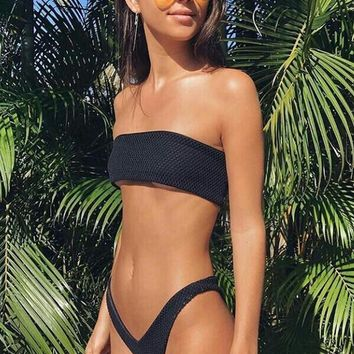 Black Strapless High Leg Bikini Set