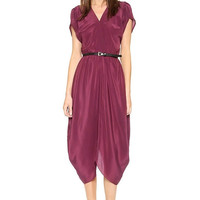 Burgundy Pleated V-Neck Midi Dress