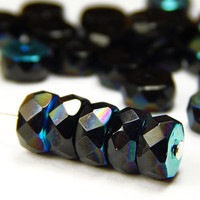 20 Pcs -  8mm x 4mm  Faceted Czech Glass Disc Beads - Black AB - Rondelle - Czech Beads - Jewelry Supplies