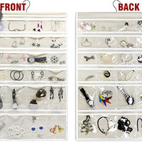 Yes4all Hanging Jewelry Organizer - Dual Sides - 48 Pockets - Cream - ²6zccz