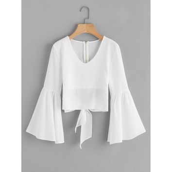 Flare Sleeve Bow Tie Back Blouse White