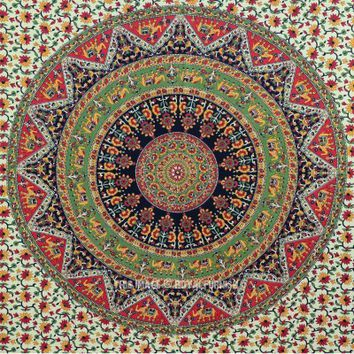 Twin Indian Multicolor Bohemian Mandala Cloth Fabric Throw Tapestry Wall Hanging - RoyalFurnish.com