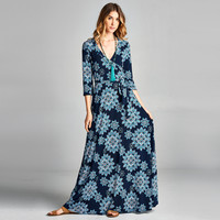 Tacked Sleeve Wrap Dress