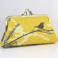 Sparrows and Cherry Blossom VintageYellow 8 inches Large by FA2u