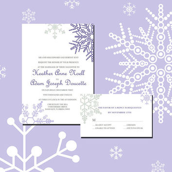 Instant Download-Purple Snowflake Winter Wedding Bridal Shower DIY Printable Template Invitation RSVP Thank You Card Elegant Baby