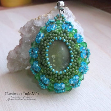 Beaded Serpentine pendant, Beadwork pendant, Statement pendant, Gemstone jewelry, Unique gifts, Jewelry for her, Gifts for her
