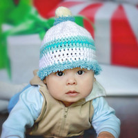 Christmas baby hat, baby boy crochet, crochet infant cap, baby Christmas photo, baby boy beanie, baby striped hat, 0 to 6 month old