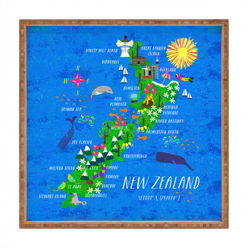Joy Laforme New Zealand Map Square Tray