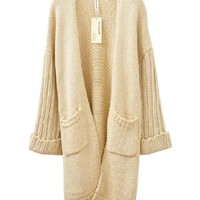 Beige Chunky Knitted Long Cardigan