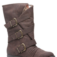 Brown Faux Leather Buckle Up Calf Length Boots
