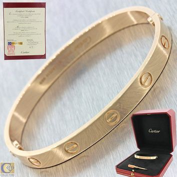 One-nice? Unworn 2017 Cartier Love 18k Rose Gold Screw Bangle Bracelet Box Papers 17