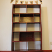 Bookcase/Bookshelf - Red Distressed Wood Furniture, Modern/Vintage Style