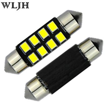 WLJH 1X White LED Festoon 8-SMD 2835 12V Auto Bulbs Interior Dome Map Lights Led Car C5W 36mm Light Lamp Bulbs Pathway Lights