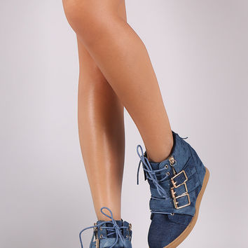 Washed Denim Multi Buckle Strap Lace Up High Top Wedge Sneaker