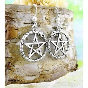 Pentacle Earrings with Ouroboros Serpent