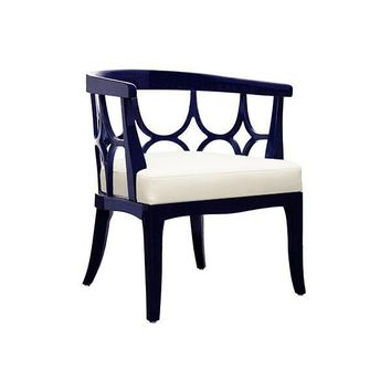 Campbell Barrel Back Lacquer Chair  | Navy