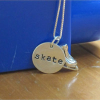 "Sterling silver ice skating necklace with hand stamped ""skate"" charm, silver ice skate and chain"
