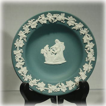 Wedgwood, Jasperware, Teal Green, Pin Tray, Hellenic, Greek, Mythology, Bas Relief, White, Stoneware, Pin Dish, Dark Green, Green Jasperware