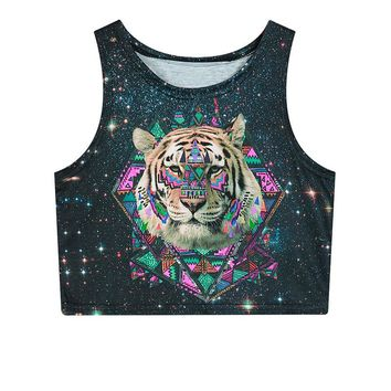 Fetoo 2018 Summer Womens Crop Tops 3D Animal Tiger Lion Galaxy Weed Flower Skull Sexy Women Tank Top Cropped Fitness T Shirt