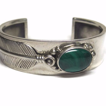 Vintage Native American Malachite Feather Cuff Bracelet Nelson Garcia