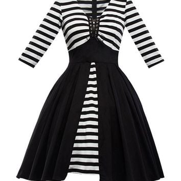 Streetstyle  Casual Lace-Up Black White Striped V-Neck Plus Size Flared Dress