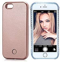 Wellerly ZY9181 Led Illuminated Selfie Light Cell Phone Case Cover, Rechargeable, Light Up, Luminous, Selfie, Flashlight Case for iPhone 7 - Rose Gold
