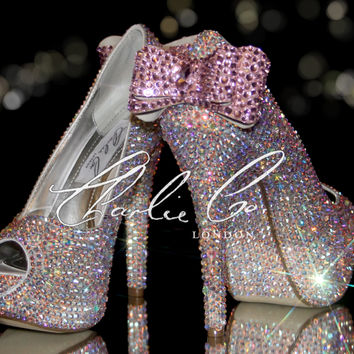 "CHARLIE CO. Set! Pretty In Pink LIGHT Crystal Strass Peep Toe Heels Bows Soles Matching Crystal Clutch Bag Purse Wedding Set Ivory 4"" 5"""