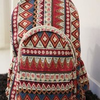 Fashion Folk Style Geometric & Floral Print Backpack from styleonline