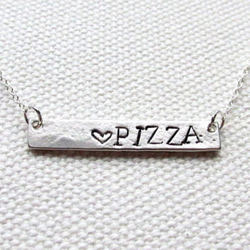 Pizza Bar Necklace Sterling Silver Chain Hand Stamped Custom Personalized Bar Word Jewelry Junk Food