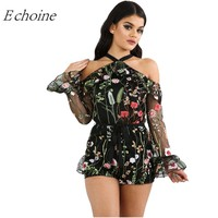 Echoine Black Sheer Mesh Floral Embroidery Women Playsuits Whimsical Off Shoulder Ruffle Bell Long Sleeve Halter Romper Bodysuit