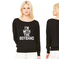 I'm With The Boy Band band women's long sleeve tee